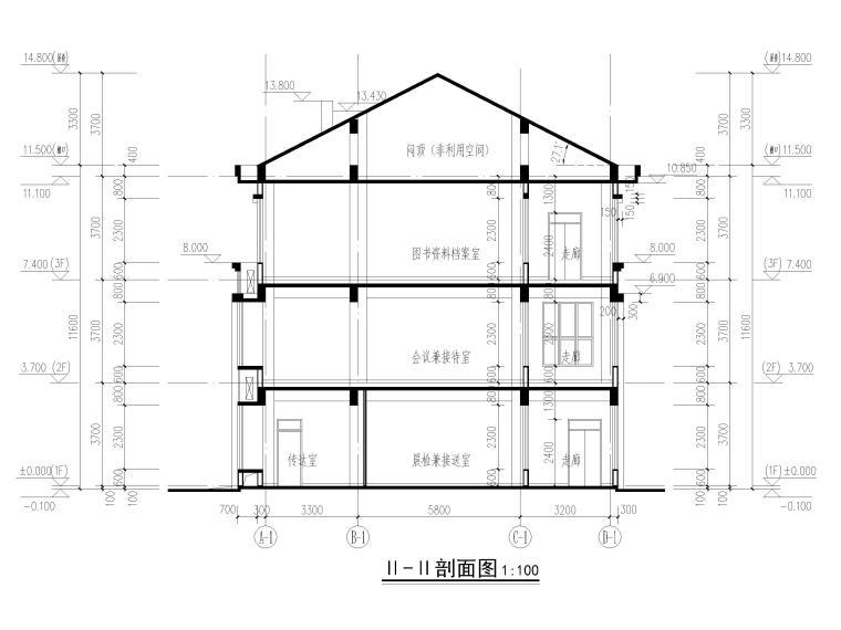 三层框架结构18班幼儿园建筑施工图2016-剖面图2