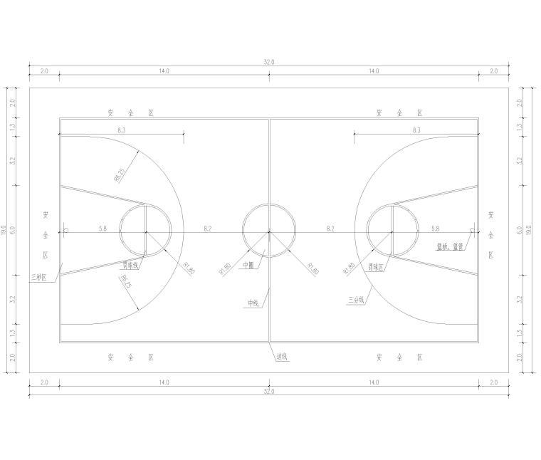 篮球场平面详图及大样图2017(CAD)-篮球场平面详图