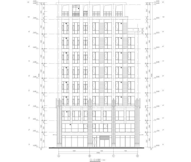 [上海]2栋高层商务办公楼全套施工图2017-建筑立面图