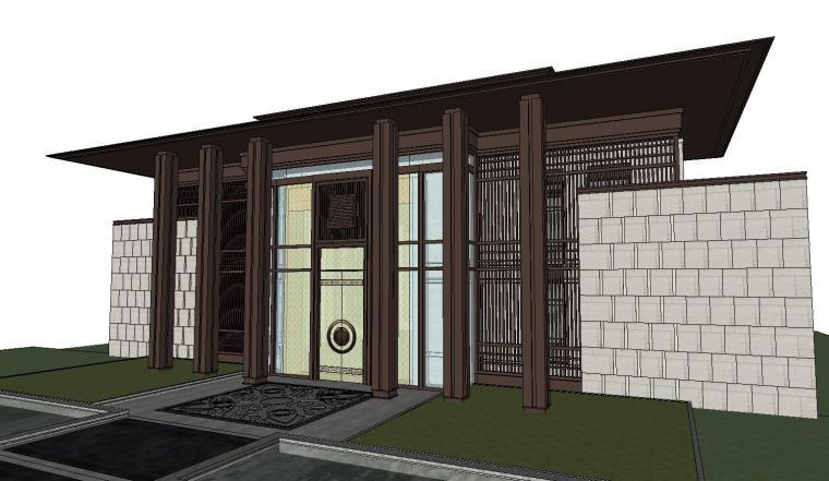 [北京]知名企业新中式示范区景观SU模型-知名企业新中式示范区景观SU模型 (8)