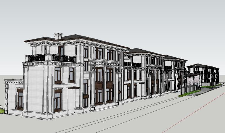 知名企业开元新中式风格别墅构架景观模型 (4)
