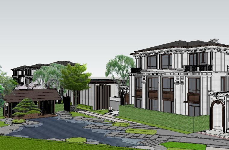 知名企业开元新中式风格别墅构架景观模型 (5)