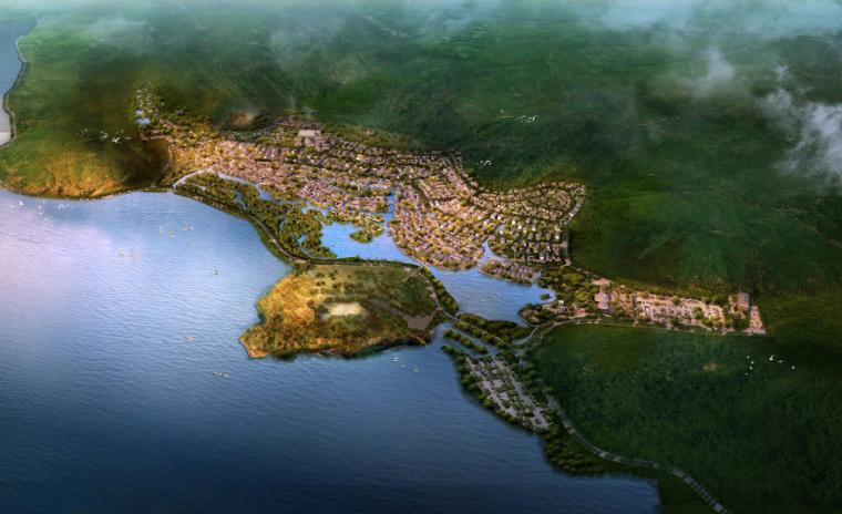 [江苏]无锡禅意休闲旅游度假区规划方案-旅游区整体鸟瞰图