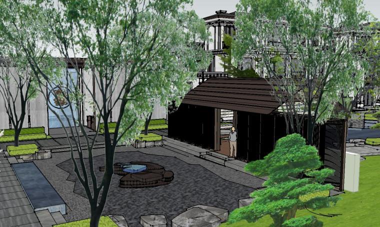 知名企业开元新中式风格别墅构架景观模型 (6)