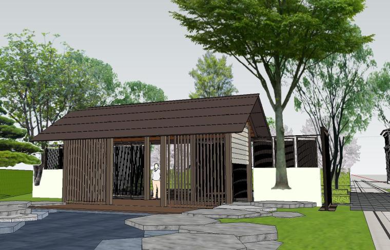 知名企业开元新中式风格别墅构架景观模型 (7)