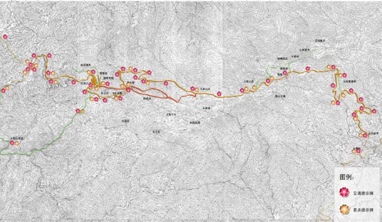 [湖南]浏阳国家森林公园旅游区规划方案-道路交通指示牌布点示意图
