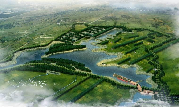 [甘肃]张掖生态湿地公园景观效果图-鸟瞰图