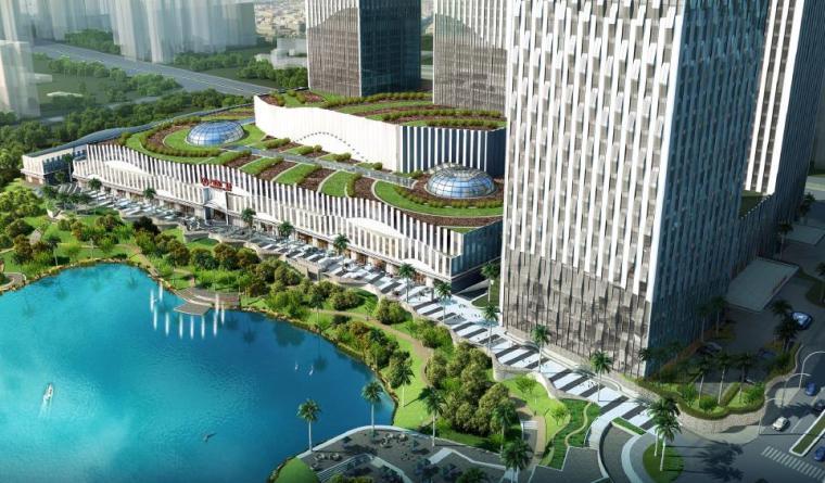 [广西]南宁著名商业广场景观设计方案-滨湖景观效果图