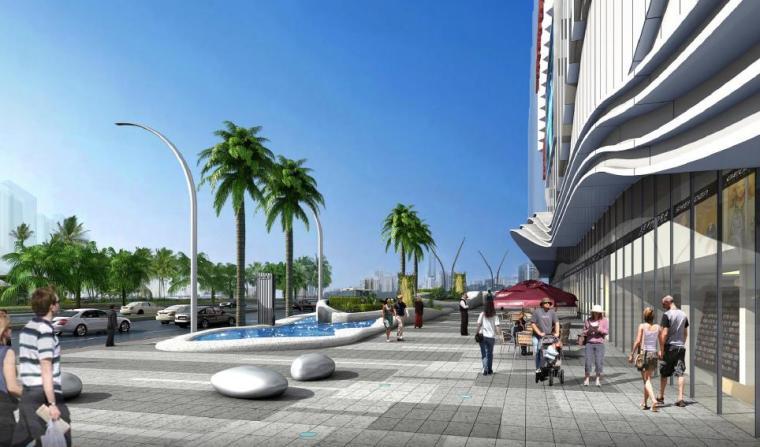 [广西]南宁著名商业广场景观设计方案-水景效果图
