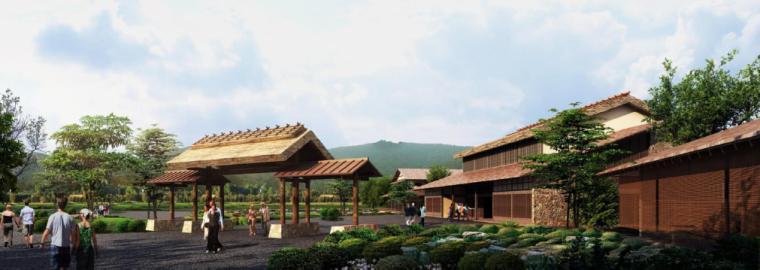 [江苏]无锡禅意休闲旅游度假区规划方案-景区入口游客服务中心透视图