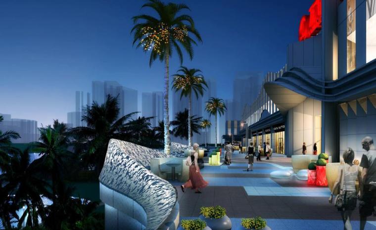 [广西]南宁著名商业广场景观设计方案-夜景效果图
