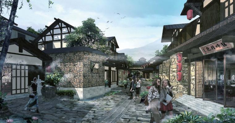 [江苏]无锡禅意休闲旅游度假区规划方案-商业餐饮混合街区示意图
