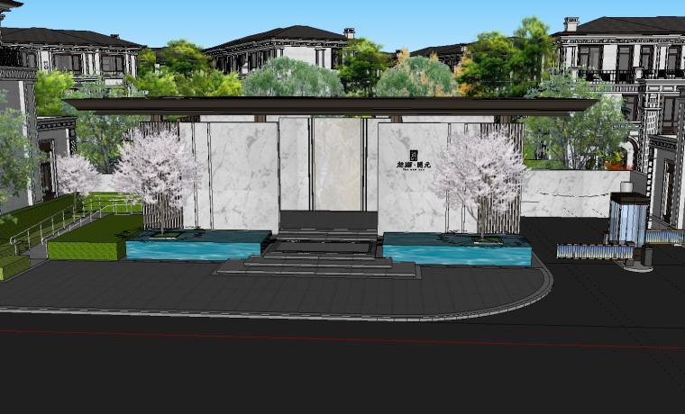 知名企业开元新中式风格别墅景观SU模型设计 (1)
