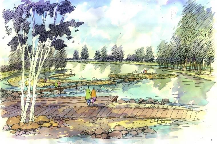 [甘肃]张掖生态湿地公园景观效果图-滨湖效果图