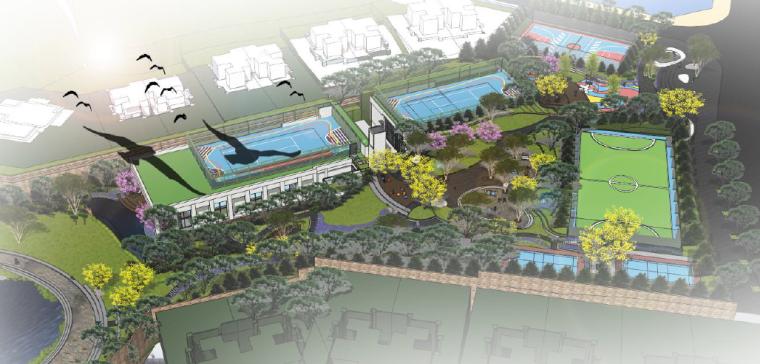 [重庆]开放生态体育公园景观设计方案-整体鸟瞰图