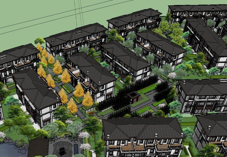 知名企业开元新中式风格别墅景观SU模型设计 (3)