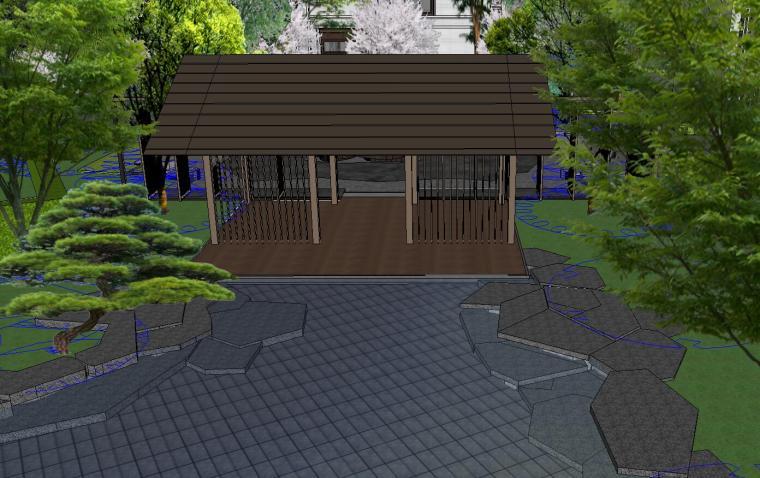 知名企业开元新中式风格别墅景观SU模型设计 (5)