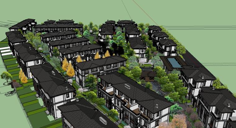 知名企业开元新中式风格别墅景观SU模型设计 (4)