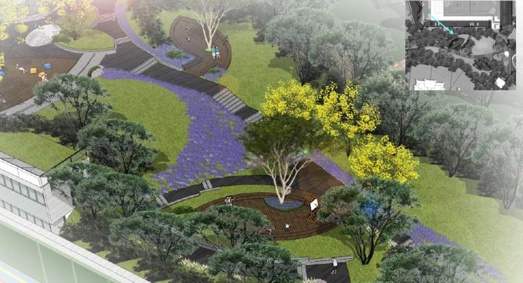 [重庆]开放生态体育公园景观设计方案-观景健身步道效果图