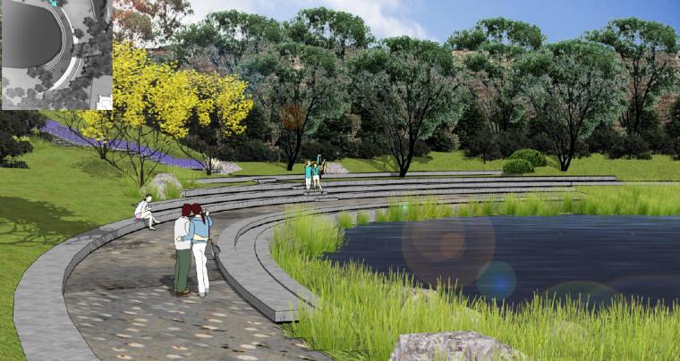 [重庆]开放生态体育公园景观设计方案-湖岸休闲区效果图