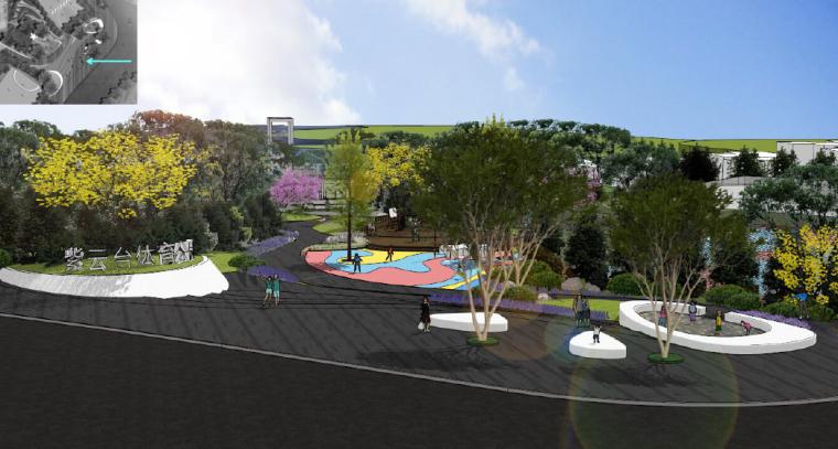 [重庆]开放生态体育公园景观设计方案-入口形象及儿童活动区效果图
