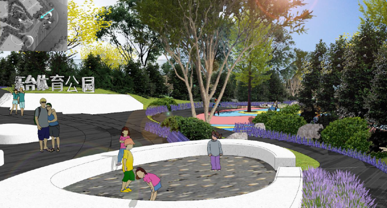 [重庆]开放生态体育公园景观设计方案-入口形象及儿童活动区效果图2