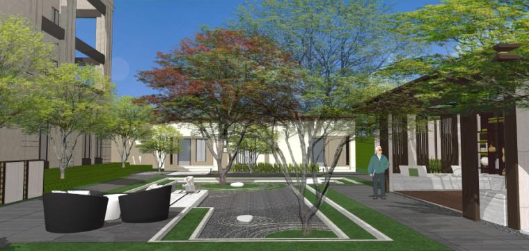 [四川]成都现代都市售楼处景观设计方案-样板房区效果图2