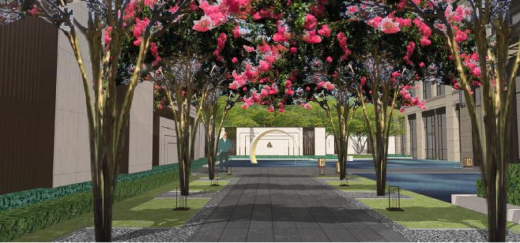 [四川]成都现代都市售楼处景观设计方案-前场绿廊步道效果图