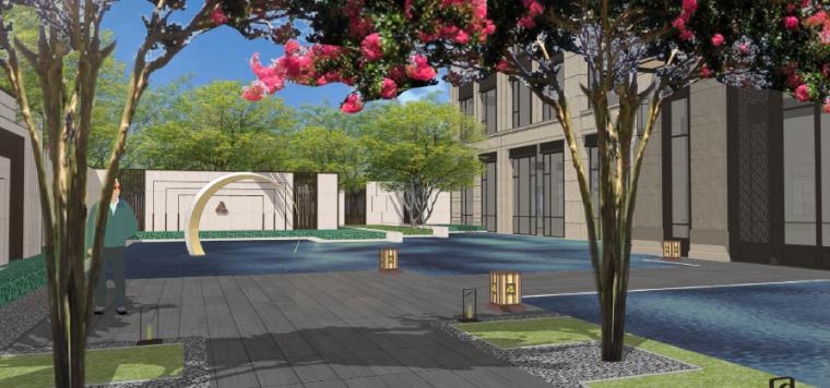 [四川]成都现代都市售楼处景观设计方案-前场绿廊步道效果图2