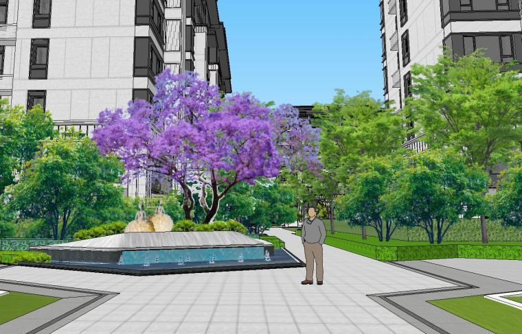 知名企业开元新中式风格洋房景观SU模型设计 (1)