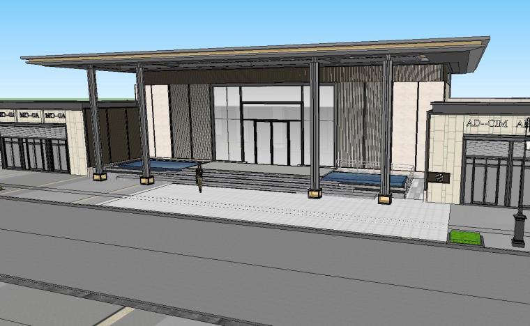 知名企业开元新中式风格洋房景观SU模型设计 (2)