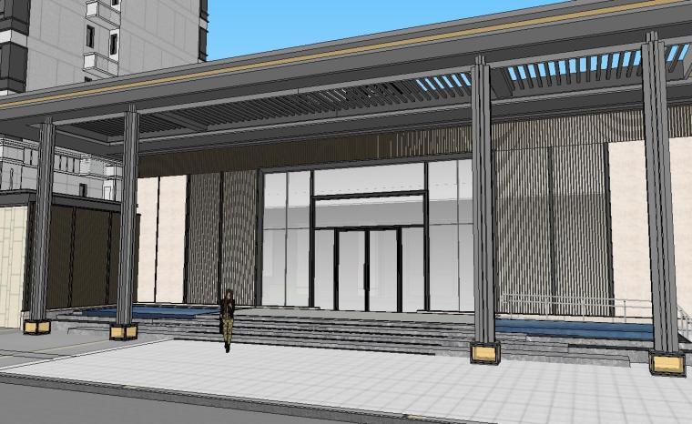 知名企业开元新中式风格洋房景观SU模型设计 (3)