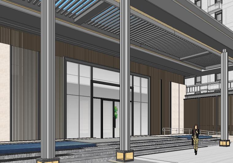知名企业开元新中式风格洋房景观SU模型设计 (4)