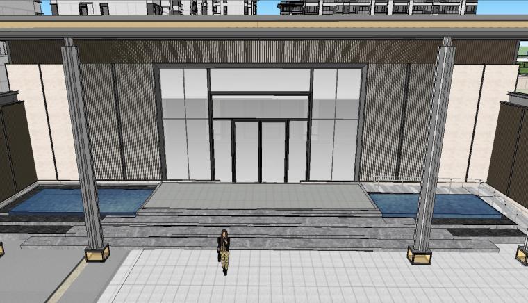 知名企业开元新中式风格洋房景观SU模型设计 (5)