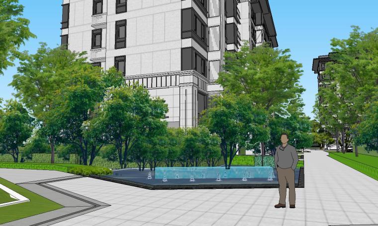 知名企业开元新中式风格洋房景观SU模型设计 (7)