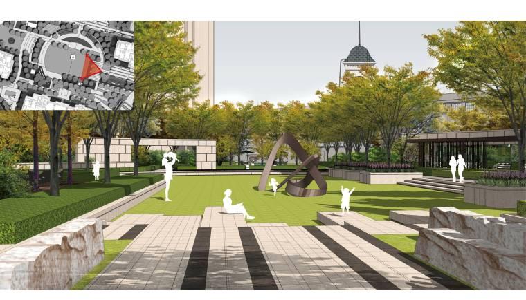 [上海]知名地产高端居住区景观方案-空间庭院效果图