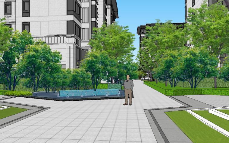 知名企业开元新中式风格洋房景观SU模型设计 (8)