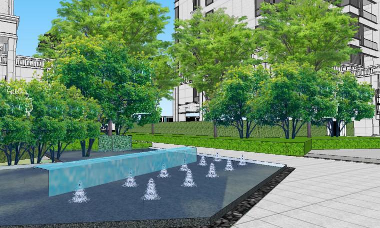 知名企业开元新中式风格洋房景观SU模型设计 (10)