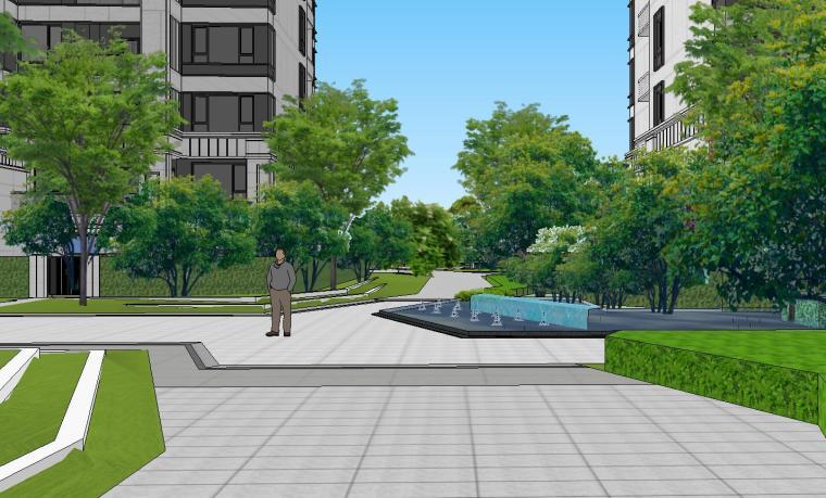 知名企业开元新中式风格洋房景观SU模型设计 (11)