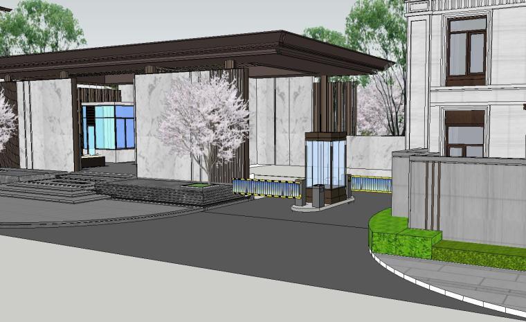 知名企业开元新中式风格别墅构架景观模型 (2)