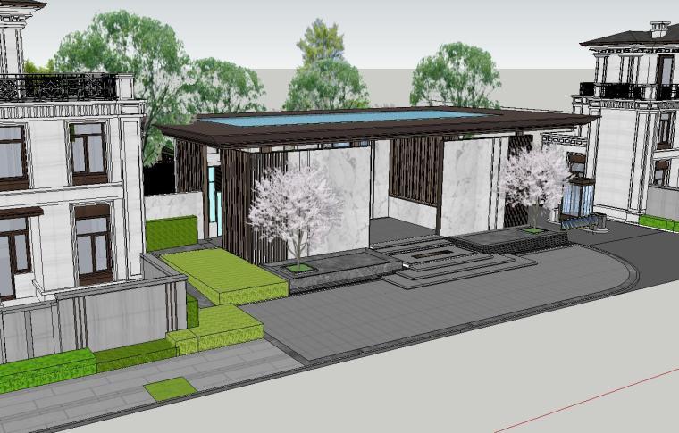 知名企业开元新中式风格别墅构架景观模型 (1)