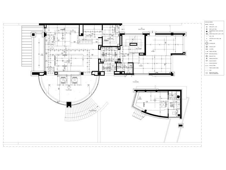 [成都]麓湖生态城二层四居别墅样板间施工图-一层天花灯位布置图