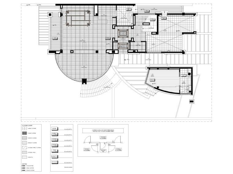 [成都]麓湖生态城二层四居别墅样板间施工图-一层地面铺装图