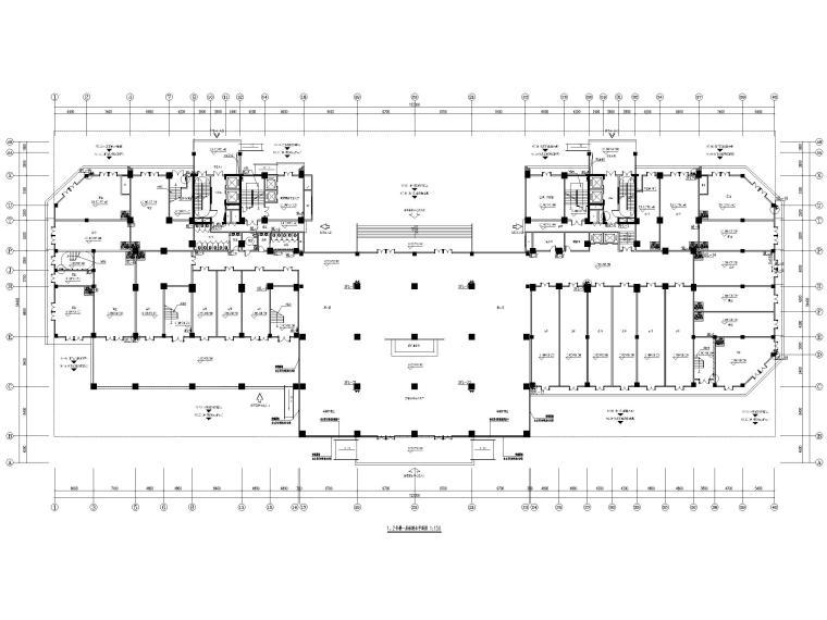 [贵州]二十四层接待中心给排水施工图-1、2号楼一层给排水平面图