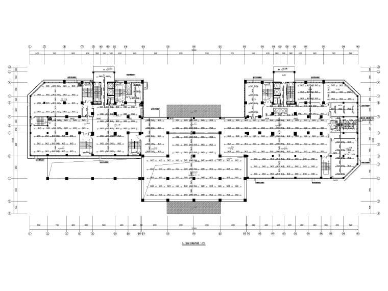 [贵州]二十四层接待中心给排水施工图-1、2号楼二层喷淋平面图