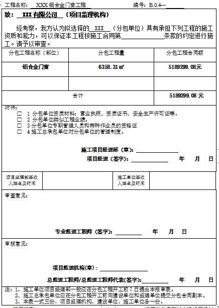 [江苏]分包单位资质报审表-分包单位资质报审表