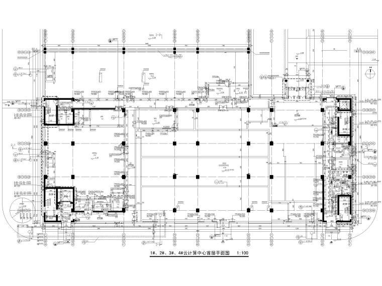 [北京]云计算数据中心全套施工图2016(CAD)-建筑平面图