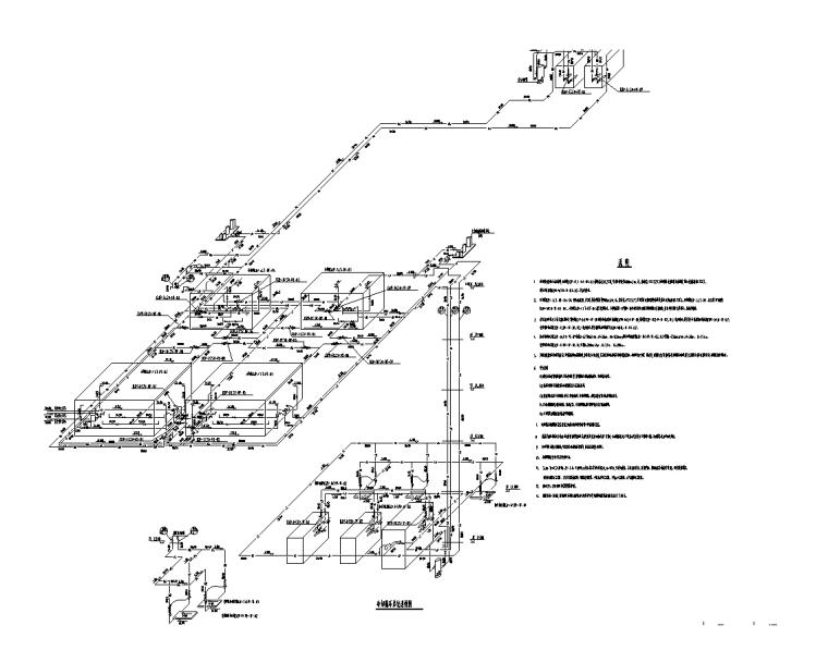 上海金融中心全套施工图(建筑结构水暖电)-冷却循环系统透视图