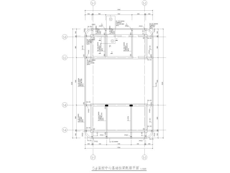 [北京]云计算数据中心全套施工图2016(CAD)-监控中心基础拉梁配筋平面