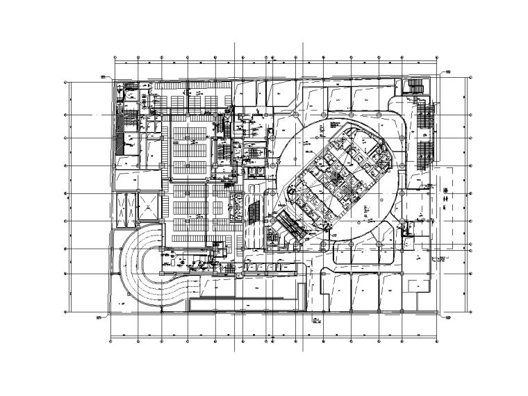 北京13万平金融中心电气智能化水暖施工图-地下一层夹层电力平面图